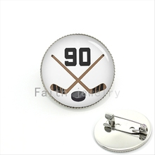 Cool ball fan jewelry bijoux brooch jewelry Hockey Player Jersey Number 90 number silver plated jewelry men gift KC431(China)