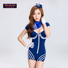 Buy Halloween Cosplay Navy Warrior Lady Erotic Lingerie Sexual Work Uniforms Temptation Sexy Stewardess Suit Dress Uniforms Playing