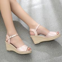 Women Sandals 2017 Summer New Open Toe Fish Head Fashion platform High Heels Wedge Sandals female shoes women Size 35-40 S093.