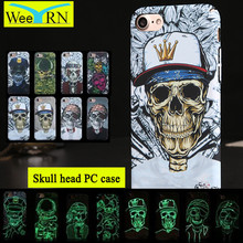 8 Style Skull Head Cover Coque For Iphone 6 6S 7 Plus Case Back Cover Luminous Hard Plastic PC Phone Case For iPhone 6S 7 5S SE