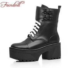 FACNDINLL autumn winter boots fashion real leather high heels round toe platform shoes woman ankle boots black motorcycle boots