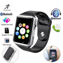Bluetooth Smart Watch A1 Pedometer Sleep Monitor Sedentary Reminder GSM Watch Phone Smartwatch For Android IOS Smart Phone(China)