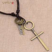 VEKNO Antique Silver Color  Letter & Cross Pendant Men's Necklaces Collier Cuir Christian Jewelry Vintage Layer Leather Necklace