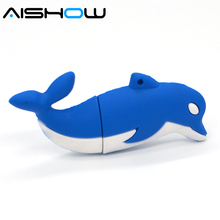 100% Genuine USB Flash Drive cartoon lovely dolphin shaped memory stick pen drive 4GB 8GB 16GB 32GB 64GB pendrive hot sale cheap(China)