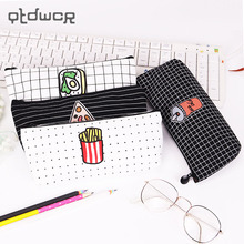 Creative Food Pizza Fries Pencil Case Canvas Pencil Bag for Kids Learning Gifts School Supplies(China)