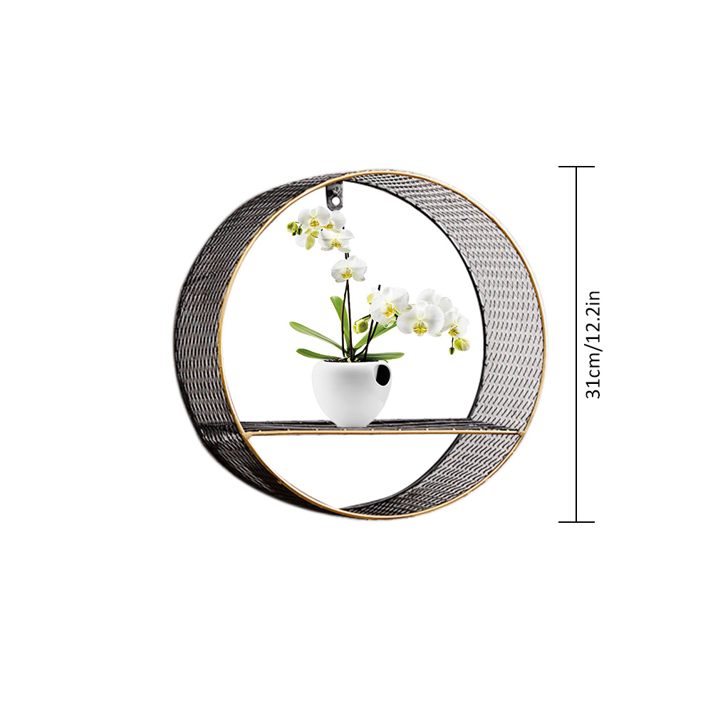 3 Sizes Retro Wall-Mounted Metal Rack Circular Mesh Iron Shelf Industrial Style Round Shelf Office Sundries Organizer Home Decor 1