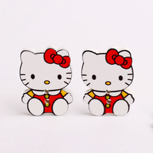 10pcs 29mm Red Kitty Animal Wooden Button For Child Cat Kids Christmas Things Decorative Sewing Pattern Craft Supplies 2 Holes(China)