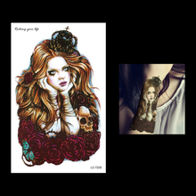 1pc Women Long Hair Angel Girl Fake Body Art Painting Tattoo LC-722S Temporary Waterproof Flower Arm Sleeves Back Tattoo Sticker