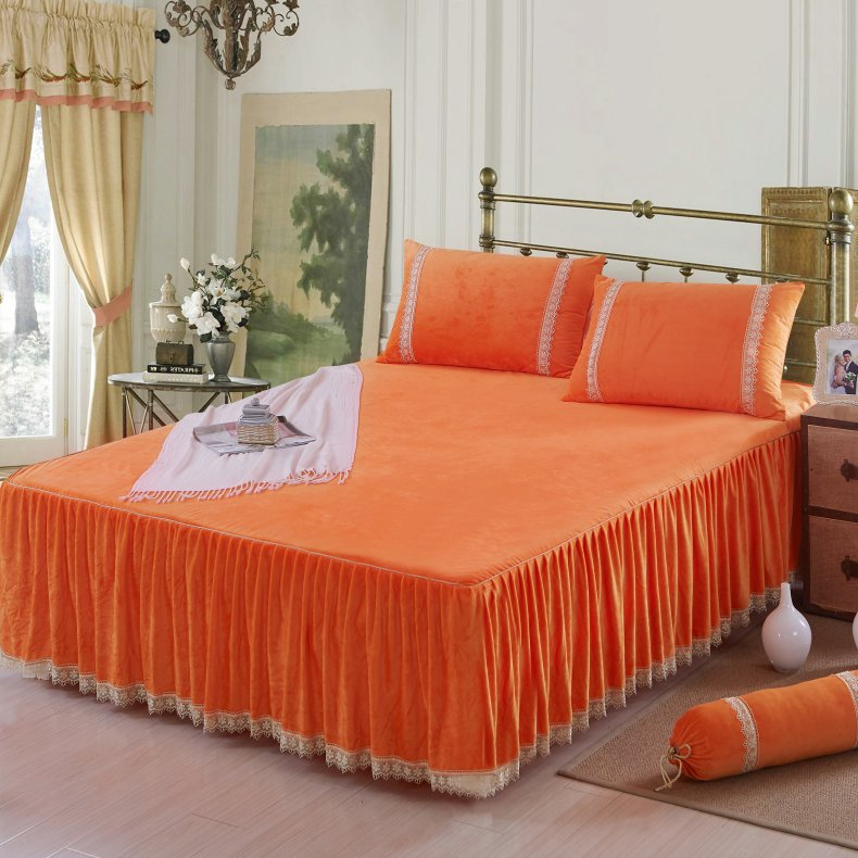 3Pcs Fleece Bed Skirt Set W/ Pillowcases, Mattress Protective Cover 31