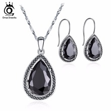 ORSA JEWELS 2017 Fashion White & Black Color Earring and Necklace with Water Drop AAA Cubic Zirconia Jewelry Sets for Women OS95(China)