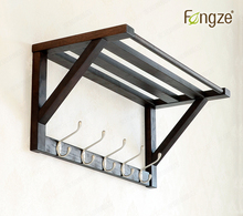 FengZe Home Furnishing FZ911 Modern Solid Wood Cloth Hanger 5 metal Hooks Wall shelf Key bags Holder Hat Hanger Mouned coat rack(China)