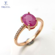 TBJ,100% natural real ruby ov6*8 gemstone ring in 925 sterling silver rose color,simple & elegant design for girls with box(China)