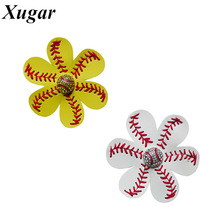 4'' New Design Synthetic Leather Hair Flower Softball Baseball Boutique Handmade Hair Accessories For Girls