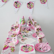 new minnie mouse theme party luxury kids birthday party decoration plates cups straws napkins ect baby party supplie 10people