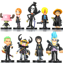 FUNKO POP 9Pcs/Set Anime One Piece Mini Luffy Roronoa Zoro Sanji Chopper Franky Nami Figure Toys PVC Dolls Christmas Gift(China)