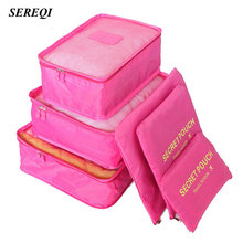 SEREQI 6PCS/1Set Travel Waterproof Storage Bag Clothes Underwear Bra Packing Cube Luggage Organizer Closet Divider Container(China)