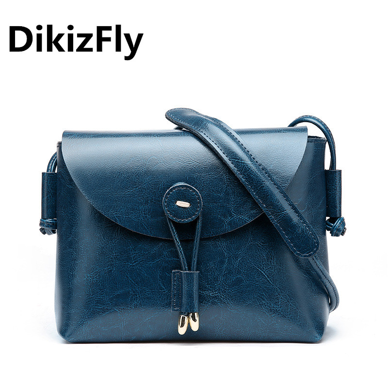 DikizFly Casual Soft Split Leather Women Handbags Cover Flap Crossbody Bags Solid Women Messenger Bags Fashion button Hand bag <br>