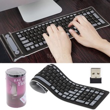 2.4Ghz Wireless Keyboard Portable Mini Flexible Roll Up Soft Silicone Keyboards with USB Receiver for PC Tablet Laptop Computer