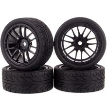 4pcs 1/10 On-Road Car Tires 26*64MM Plastic Wheel Rim Rubber Tyre 9062 for HSP Tamiya HPI Kyosho Sakura 94122 94123 D3 D4  tt02