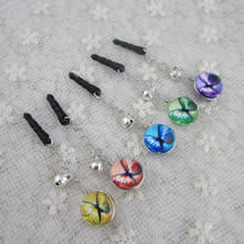Illustration Color Butterfly 14mm Ball Shape TimeGems Double Sided 3.5mm For Iphone or Universal e Earphone Dust Plug