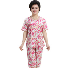 Plus Size Short Sleeved Ladies Pajamas Set Cotton Pyjamas for Women Pijama Mujer Floral Print Sleepwear Homewear Nightgown 4XL(China)