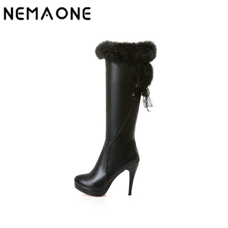 NEMAONE Fashion sexy Side Zip Back Lace Up Platform High Heels Knee high  Boots Dance snow Boots Plus Size34- 43<br>