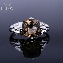 HELON Sterling silver 925 Cushion Shape 9x9mm 2.93ct SMOKEY QUARTZ TOPAZ Ring Women's Exquisite Pave Natural Diamonds Fine Ring