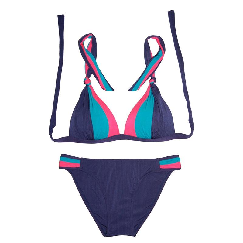 2017 New Ladys Bandeau Halter Bikini Swimsuit Sexy Push Up Padded Swimwear Women High Quality Multicolor Bathing Suit E124 <br><br>Aliexpress