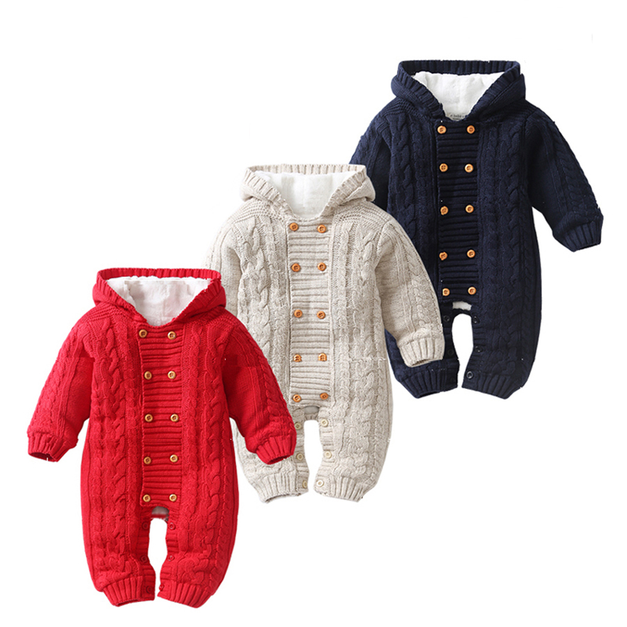 Thick Warm Infant Baby Rompers Winter Clothes Newborn Baby Boy Girl Knitted Sweater Jumpsuit Hooded Kid Toddler Outerwear<br>