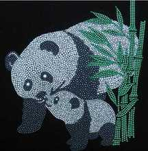 2pc/lot Panda and bamboo design stone hot fix rhinestone transfers iron on crystal transfers design patches for shirt