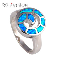 Luxury designer fashion brand new arrival Fashion Jewelry BlueFire Opal stamped Silver Rings USA #6.5# 6.75 #7.75 #8 OR385(China)