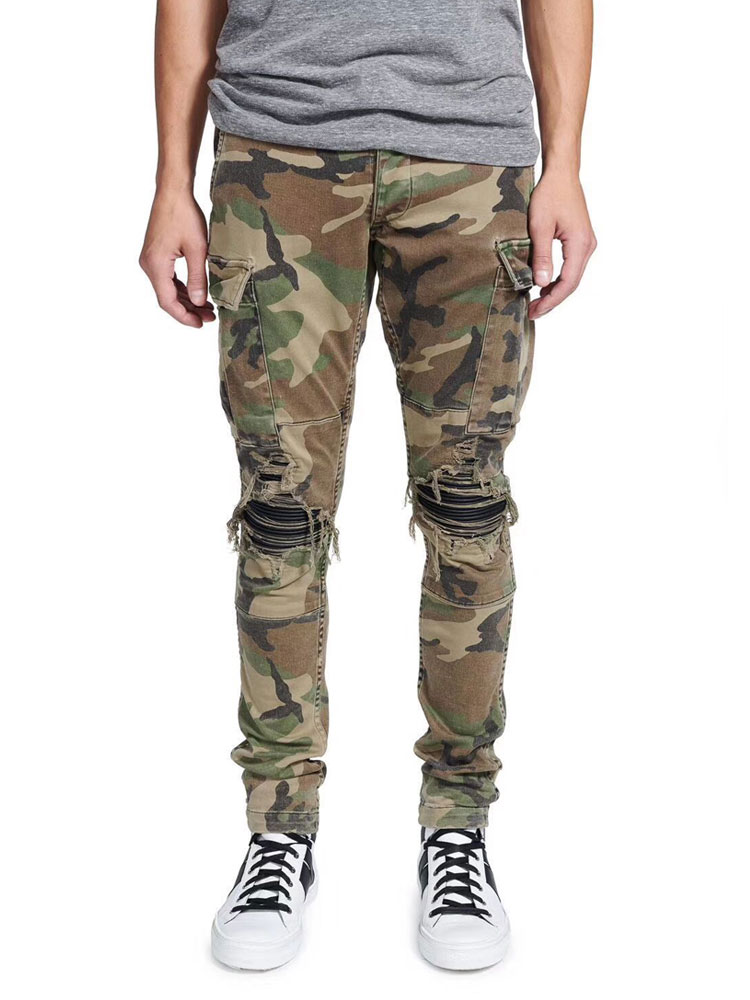 American Streetwear Fashion Men Jeans Camouflage Military Trousers Big Pocket Cargo Pants hombre Slim Hip Hop Ripped Jeans Men
