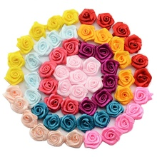 DIY Handmade 15mm Satin Rose Ribbon Rosettes Fabric Flower Wedding Decor Bow Appliques Craft Sewing Accessories 480 pcs/lot
