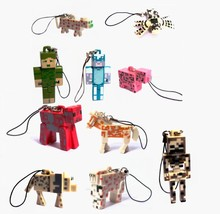 10pcs Minecraft series 3 keychain figure toy lot 2015 New Minecraft  zombie steve pig spider horse pickaxe minecraft decoration