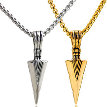 Fashion Cool Arrow Pendant Necklaces Gold color Stainless Steel Necklace Vintage Accessories Jewelery Collar For Men Jewelry 1ps