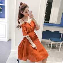 Make summer brought a word condole belt falbala dress in long shoulder chiffon skirt female pressure plait skirt