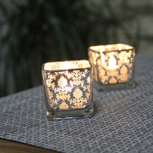 European style Square plating glass candle holder silver glass candelabra restaurant bar home wedding decoration Kaarsen kandela