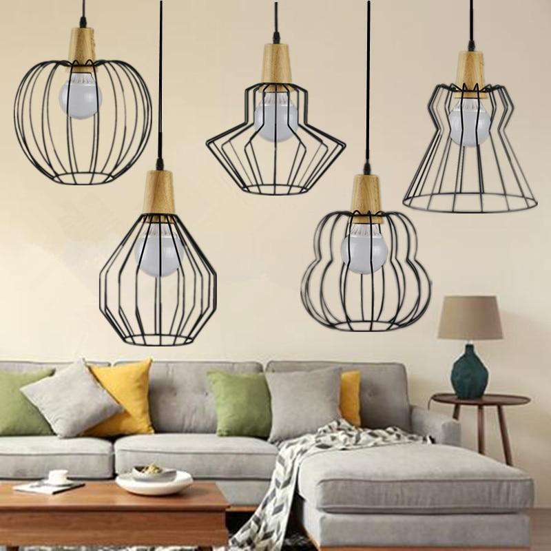 LOFT Vintage lamp pendant light  wood and Iron Industrial style indoor lighting  ceiling restaurant bar light fixture<br>