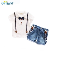 LONSANT Boys Clothing Set Summer 2017 Bow-Knot Shirt +Jeans 2pcs Baby Boy Kids Baby Clothes Set Dropshipping
