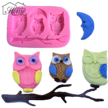 Silicone Molds Owl And Tree Branch Design DIY Silicone 3D Cake Fondant Molds Fondant Cake Chocolate Mould Baking Kitchen Tool