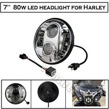 1 PCS  7 Inch 80W  LED Headlight H4 DRL  Hi/Lo Motorcycle Projector Daymaker  Headlight  For Harley Jeep Wrangler Hummer