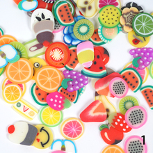 1000pc/box Colorful Fruit Shape Nail Art Mix Design Fimo Slices Polymer Clay Stickers Decoration Manicure