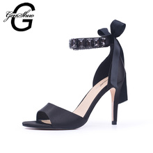 Black High Heel Sandals Women Shoes Ankle Strap Sandals Summer Gladiator Open Toe Stiletto Sandals Shoes Big Plus Size 10 11(China)