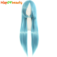MapofBeauty long straight womens cosplay wigs Water Blue 80cm 32inch Costume Party Ladies Heat Resistant Synthetic Hair