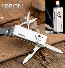 JOBON Multifunctional Refillable Gas Flame Cigarette Lighter With Knife Scissors Keychain Bottle Opener