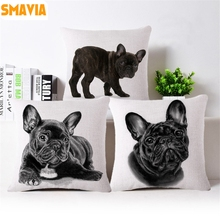 SMAVIA French Bulldog Cushion Covers Animal Printing Cotton Linen Pillowcase Car/ Bed/ Sofa Pillow Covers 45 x 45cm Home Decor(China)