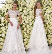 Robe de mariage	 New Simple 2017 O-Neck Short Sleeves A-Line Floor Length Lace Long Wedding Dresses Beach Wedding Dress
