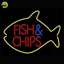 Fish And Chips Inside Fish Neon Sign Neon Bulb Arcade Sign Shop Display Tube Glass Neon Handcrafted Glass Tube Affiche 17x14 vd(China)