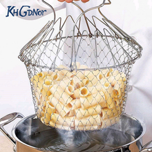 Stainless Steel Expandable Fry Chef Basket Kitchen Colander Magic Mesh Basket Strainer Net Cooking Steam Rinse Strain Basket(China)