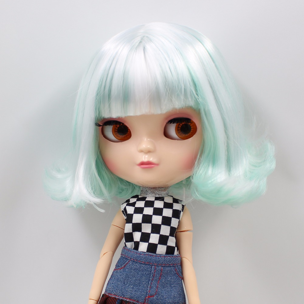Neo Blythe Doll with Mint White Hair, White Skin, Shiny Face & Jointed Azone Body 2